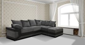 *COME AND VIEW IT ,TRY IT THEN BUY IT* BRAND NEW DINO JUMBO CORD CORNER SOFA BLACK/GREY FABRIC RH