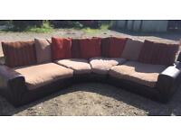 Large leather and fabric sofa 9 seater