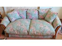 Sofa Bed, Futon, Fold Out Small Double Foam Mattress Blue Pink Flowers Floral Cotton