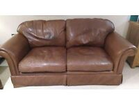 Laura Ashley Brown Leather Sofa Aged - Heritage Tan Brown Colour - Large 2 seater