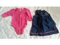 Pink long sleeve babygrow with blue dress for newborn baby