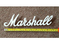 "Marshall White Script Logo - just less than 9"" / 22.5cm long"