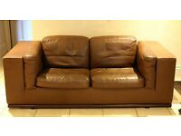 De Sede 1980, rare design, brown leather two seater sofa, good condition