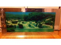 REDUCED ! OPEN TO OFFERS. Moving Lighted Waterfall Picture, with light & motion.