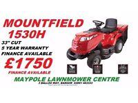 """New Mountfield 1530H Ride On Lawnmower - 33"""" Cut, 5 Year Warranty"""