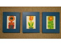 Royal blue solid wood picture frames