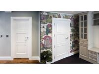 Brand New Internal Doors - White Primed & Black Stained Oak - Flat Panels with FD30 + Beading