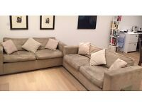 A beautiful faux suede sofa and identical sofa bed for sale - Kings Cross, London.