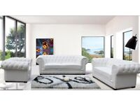 White Leather Chesterfield Sofa Set 3+2+1