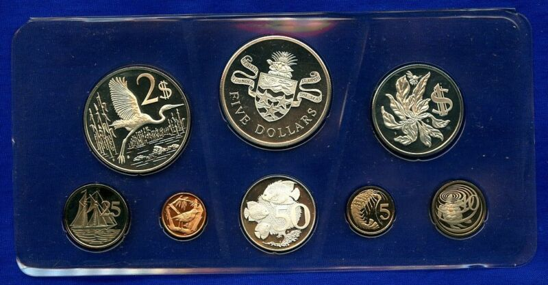 1974 Cayman Islands 8 Coin Silver Proof Set w/box