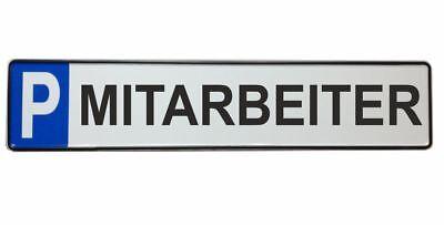Parkplatzschild MITARBEITER 52x11 Original Fahrzeugkennzeichen SCHWARZ #P7
