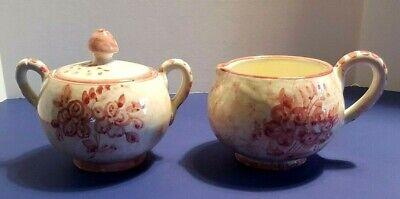 Italian Pottery Hand Painted Creamer and Lidded Sugar Bowl Vintage Estate Item