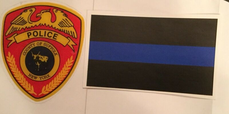 Suffolk County Police In/Window FACES/OUTSIDE OFFICIAL Decal +1 Blue Sticker *O