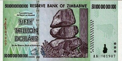50 TRILLION Uncirculated ZIMBABWE DOLLAR AA 2008 for Collectors. MINT