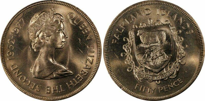 #1 Highest Graded Worldwide 1977 Falkland Islands 50 Pence PCGS PR64+