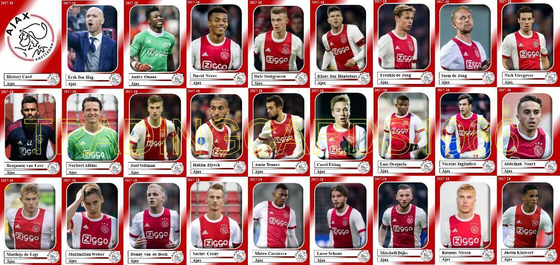 Ajax of Amsterdam Football Squad Trading Cards 2017-18