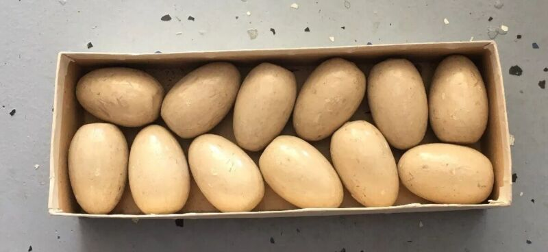 Lot Of 12 Vintage Replacement Wooden Eggs