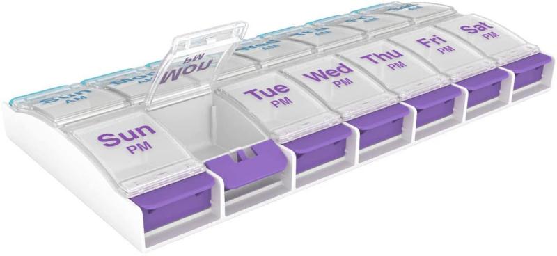 Medicine Pill Box Organizer Weekly Holder Crusher Cutter Cas