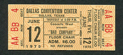 Original 1975 Bad Company unused concert ticket Dallas TX Straight Shooter Rare