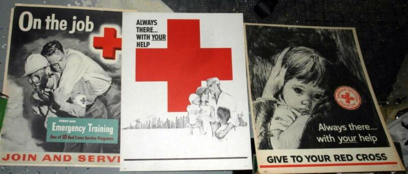 1950s 3 AMERICAN RED CROSS POSTERS
