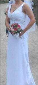 White Wedding Dress, size 12 (Fits 6-8). Fitted, back cut-out.