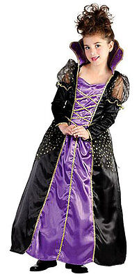 Girls Halloween Queen Witch Costume Fancy Dress Princess Outfit NEW AGE 6-8