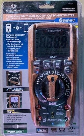 Southwire 14090T TechnicianPRO™ BLUETOOTH® CAT IV MULTIMETER w/pouch and Leads