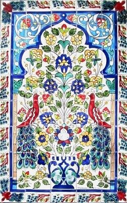 - LARGE DECORATIVE CERAMIC TILES: MOSAIC PANEL HAND PAINTED HOME KITCHEN WALL ART
