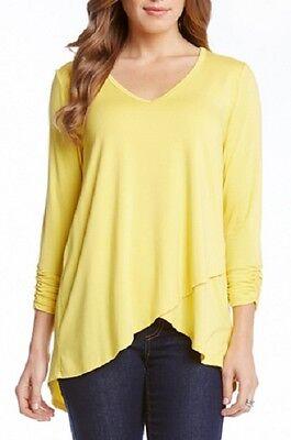 Karen Kane 1L13506 Yellow Ruch Slv Asymmetrical Hem Stretch Jersey Wrap Top $99