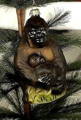 Lauscha Glas  Mama/Baby Ape/Gorilla~Mold Blown Glass Christmas Ornament~Germany