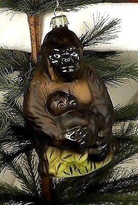 Lauscha Glas  Mama/Baby Ape/Gorilla Blown Glass Christmas Tree Ornament  Germany
