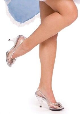 Clear Glass Slippers Cinderella Disney Wedding Theme Costume Shoes Heels 6 7 8 9 - Plastic Glass Slippers