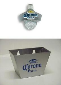 CORONA WALL MOUNTED BOTTLE OPENER AND STAINLESS STEEL BAR CAP CATCHER + SCREWS