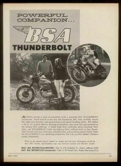 1967 BSA Thunderbolt 650 motorcycle 2 photo vintage print ad