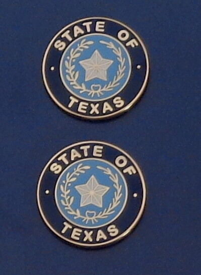 2 State of TX Texas COLLAR/LAPEL PINS Gold & Blue state seal Police/Fire/EMS