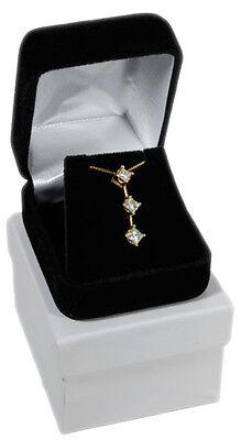 "Black Velvet Pendant Necklace Earrings Jewelry Gift Boxes 1 7/8"" x 2 1/8"""