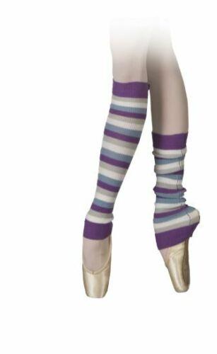 "Striped Legwarmers Purple/white/gray/light blue Zebra Sansha 16"" non stirrup"