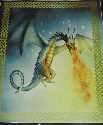 New Celestial Dragon Fleece Throw Gift Blanket Fire Breathing Magic Fantasy NIP ()