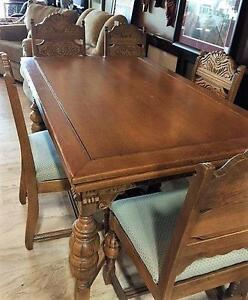 Carved Wood Dining Table With 6 Chairs