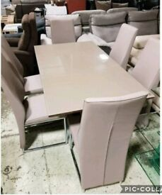 Brown dining table & 6 leather chairs