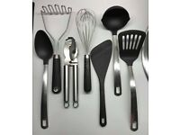 7-piece Kitchen Utensil Set + Kitchen knives set of 3 + pair of scissors