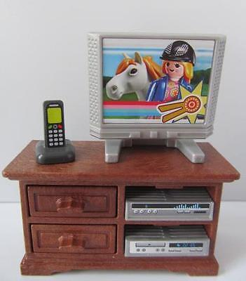 """Playmobil """"wooden"""" cupboard with TV & stereo NEW dollshouse lounge furniture"""