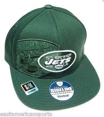 New York Jets NFL Reebok Sideline Green Flat Visor Logo Hat Cap Flex Fitted (Green Sideline Flat)