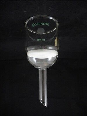 Chemglass Glass 150ml 60mm Diameter Coarse C Fritted Disc Buchner Filter Funnel