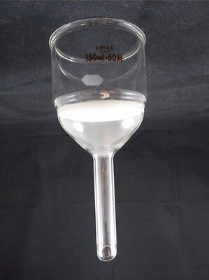 Kimble Kimax Glass 150ml 60mm Diam Medium M Frit Disc Buchner Filter Funnel
