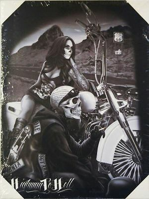 Dead Canvas (DGA Motorcycle Biker Day of the Dead Stretched Canvas Wall Art Highway to)