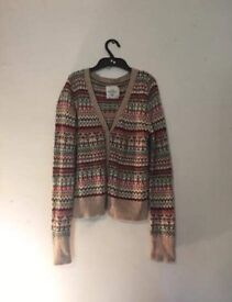 Thick cream winter cardigan/jumper with white, red, green and purple pattern