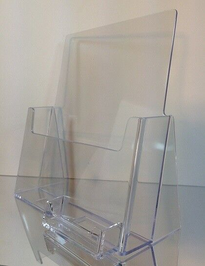 """12-pack Acrylic 8.5"""" x 11"""" Countertop Brochure Holders with Business Card Holder"""