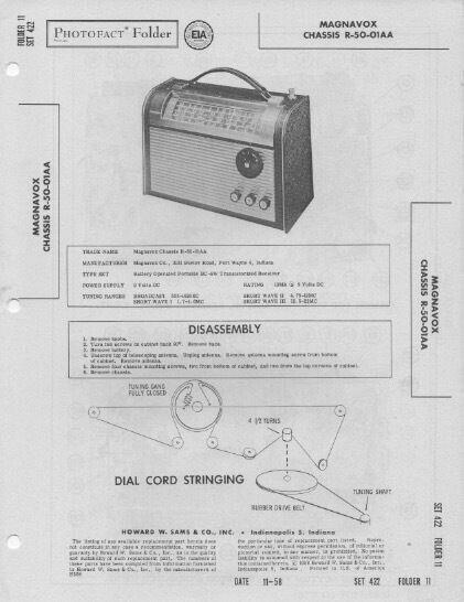 1958 MAGNAVOX R-50-01AA SHORTWAVE RADIO SERVICE MANUAL PHOTO