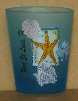 Port St. Lucia shot glass new vintage collectible Florida blue glass starfish